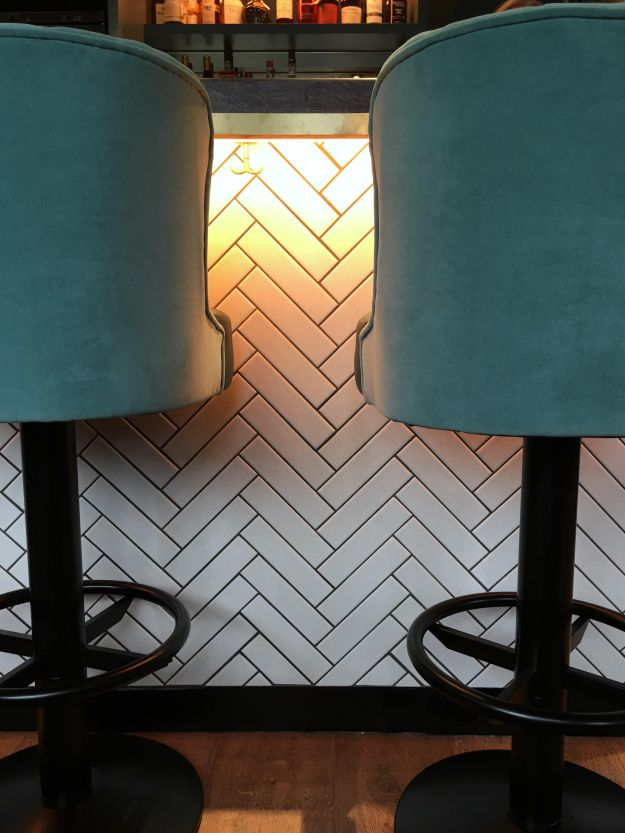 Pacere Brighton new restaurant green blue turquoise velvet chevron metro tiles design