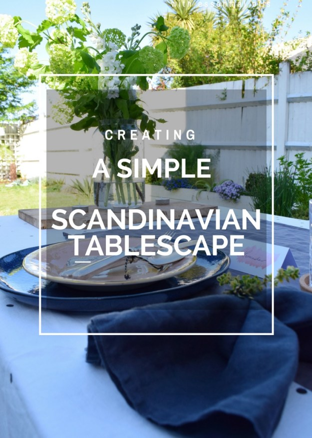 simple relaxed outdoor tablescape ideas, scandinavian linen pink and blue theme