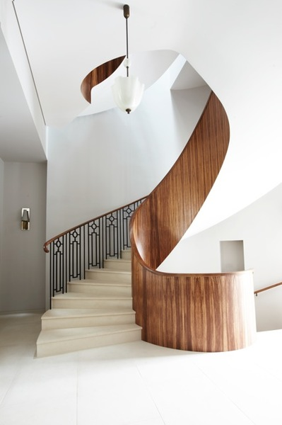 Interior Decor, ideas and inspiration for statement stairs design Peter Mikic Walnut hallway spiral foyer
