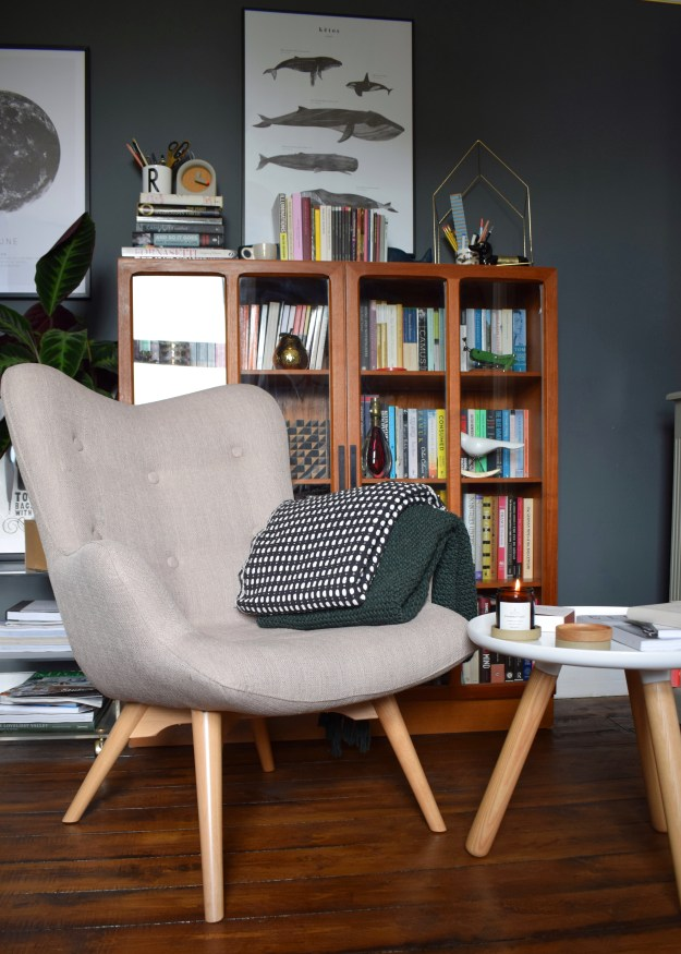 Sloane & Sons Angel Wingback mid century scandinavian Chair Artemis Beige Modernist Hygge Reading Nook