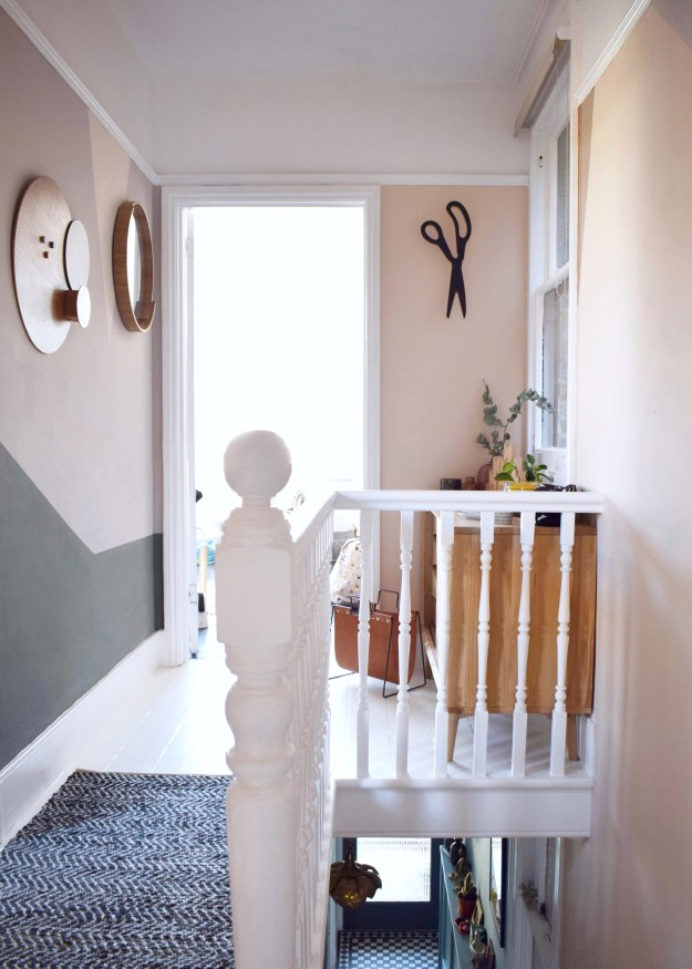 Revamp Restyle reveal hallway makeover, peach geometric colour wall, white painted floors, natural warm neurtral tones interior design (36)