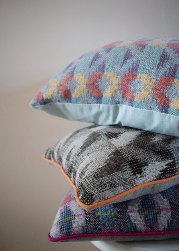 Rowenna Mason Layered geometric woven cushions, colourful artisan design (1)