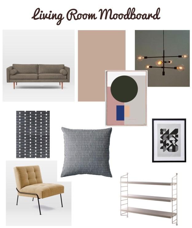 Design Soda Living Room Moodboard, bohemian mid century scandinavian design (1)