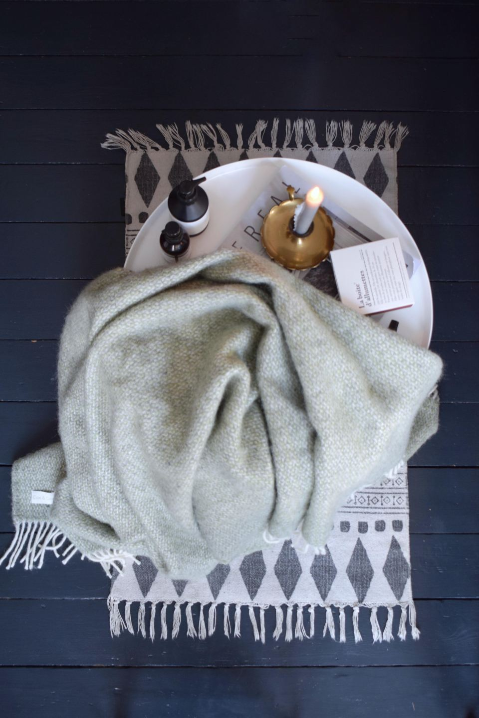 Woven knitted patterned blankets selection, colourful scandinavian bohemian modern style interiors ideas and inspiration