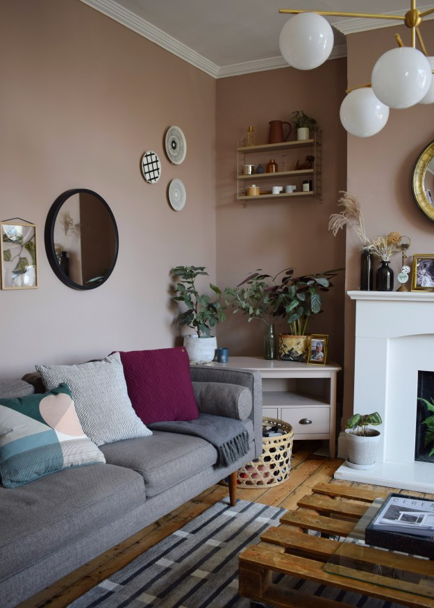 Room makeover our mid century calm space with muted scandinavian colours Leave you dead in the living room