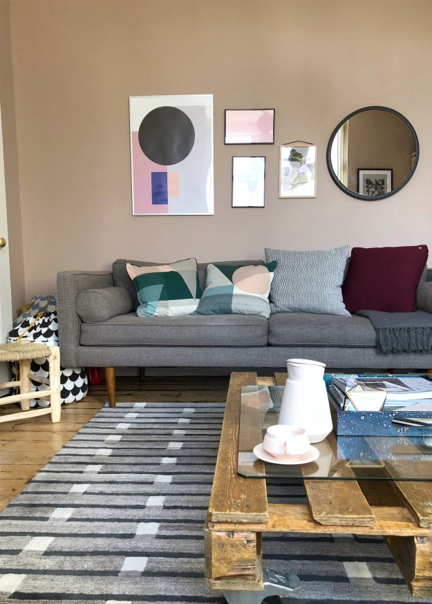 Scandinavian Living Room makeover, muted pink, neutrals, mid-century simple design, West Elm, Farrow Ball Dead Salmon, Craft luxe, interior design ideas and inspiration (28)