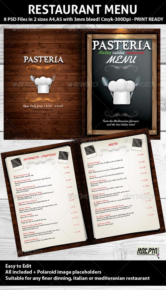 make a restaurant menu