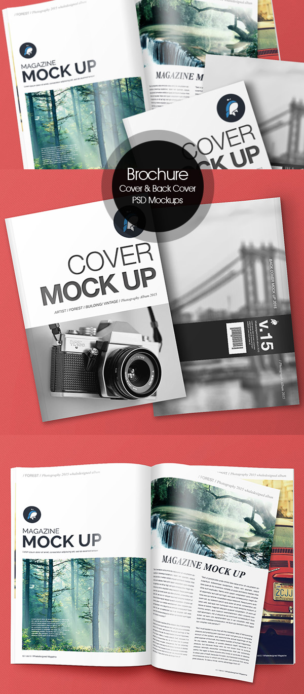Old Book Cover Psd : Free psd magazine book cover brochure mockups