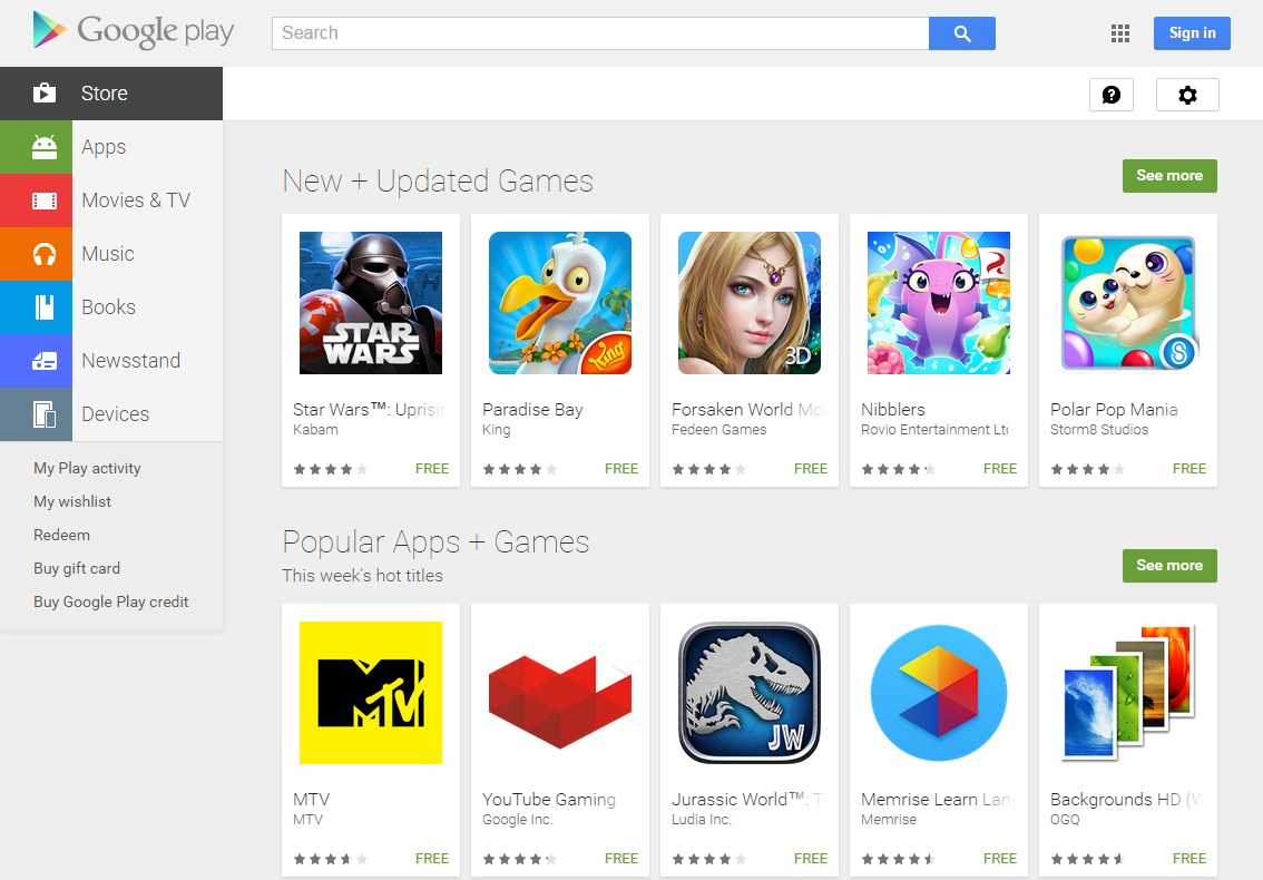 Google Apps Play Store