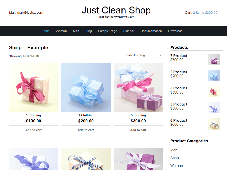 free wordpress shop themes