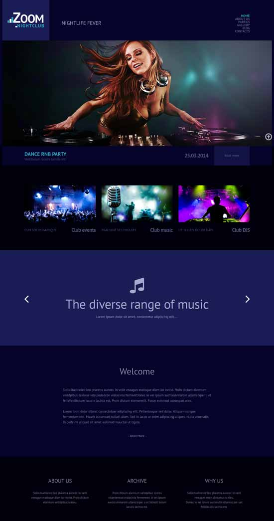 Club-Responsive-WordPress theme