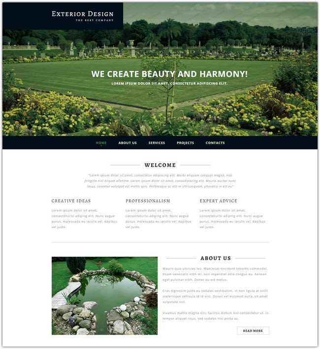 Exterior Design Responsive-Website Template Download