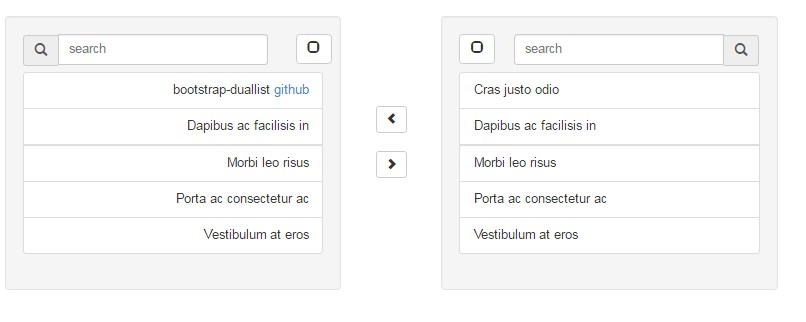 Bootstrap dual list search box