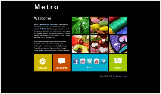 metro dreamweaver template free download