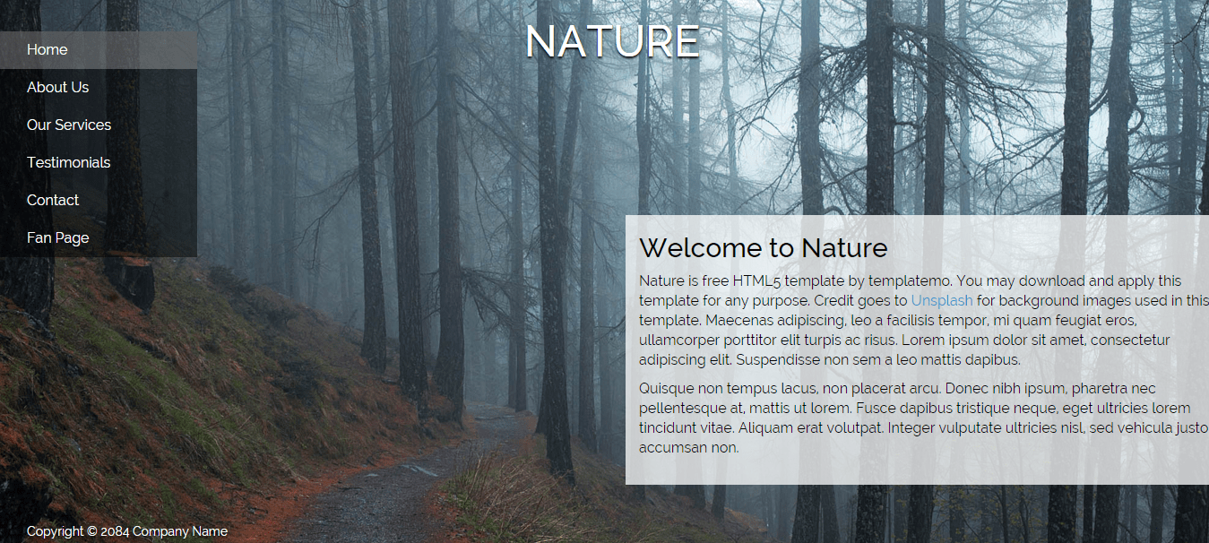nature html5 template free