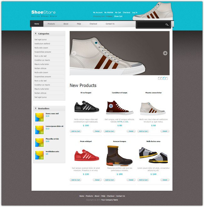 shoes dreamweaver template free download