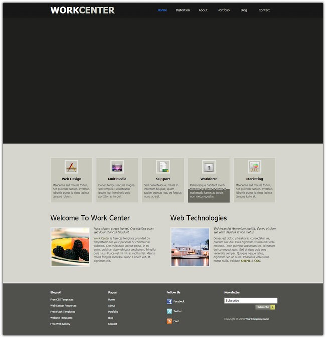 work center dreamweaver template