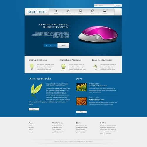 blue tech dreamweaver template