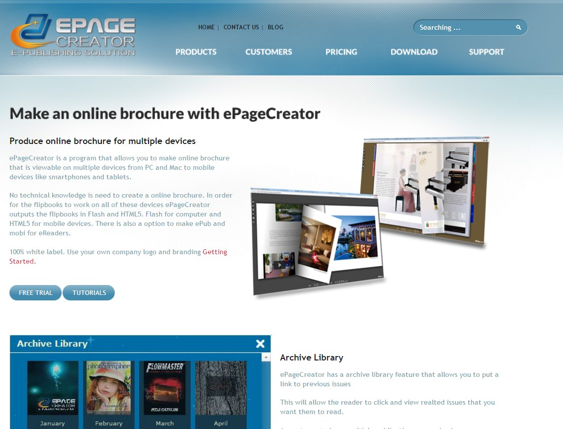 epagecreator brochure maker tool