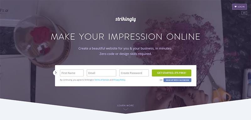 strikingly drag drop website builder