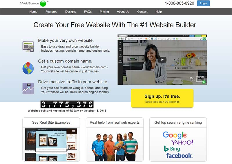 webstarts free drag and drop website builder