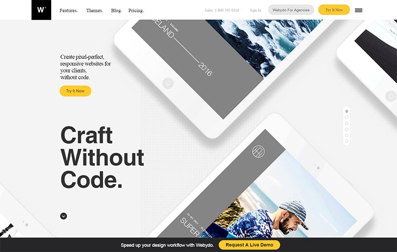 webydo drag and drop website builder