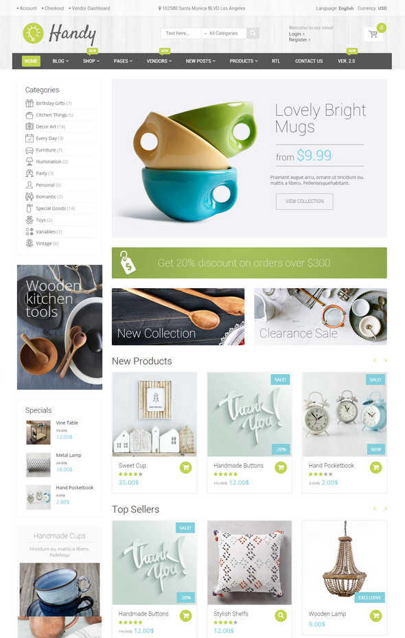 handy wordpress woocommerce theme