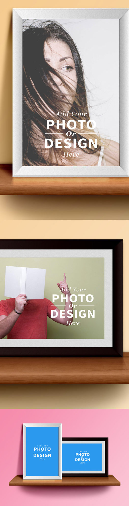 PSD Free Poster Mock-ups photo frames