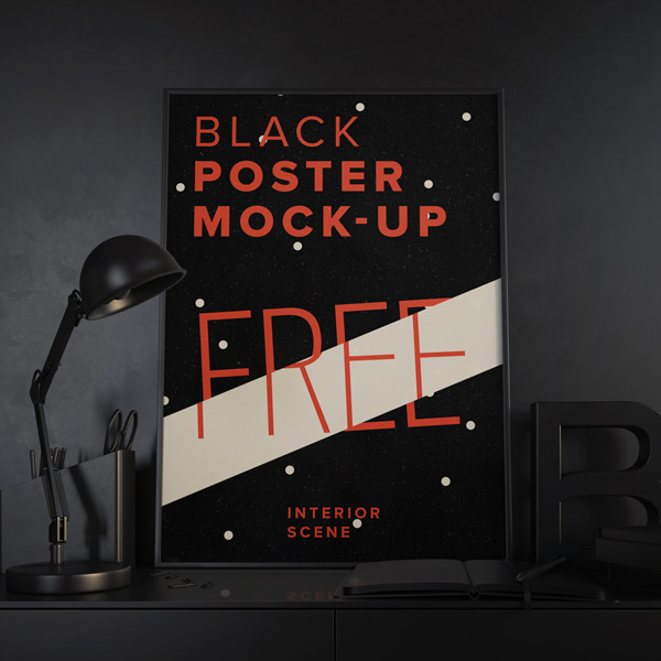 Posters Mock up Black free