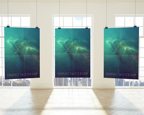 premium triple frame Poster Free Poster Mock-ups