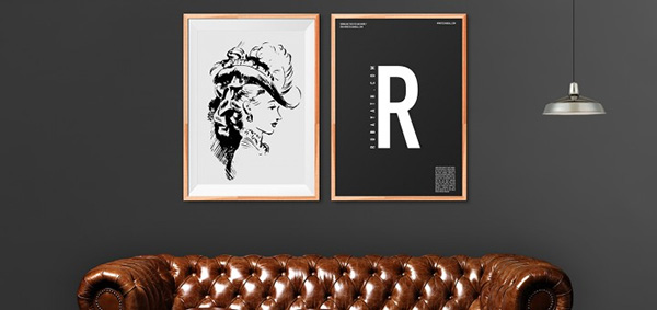 wooden art work Poster Mockup