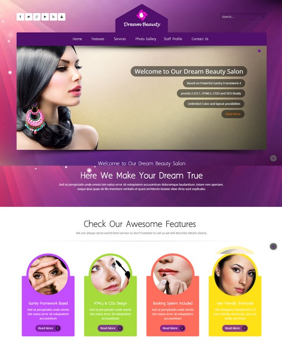 Dream Beauty Salon Joomla Template