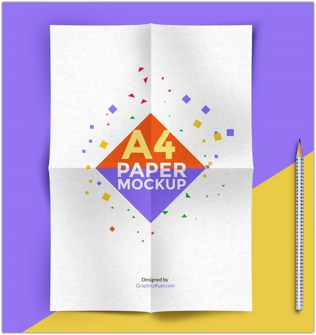 A4 Paper Mockup PSD 3 Template