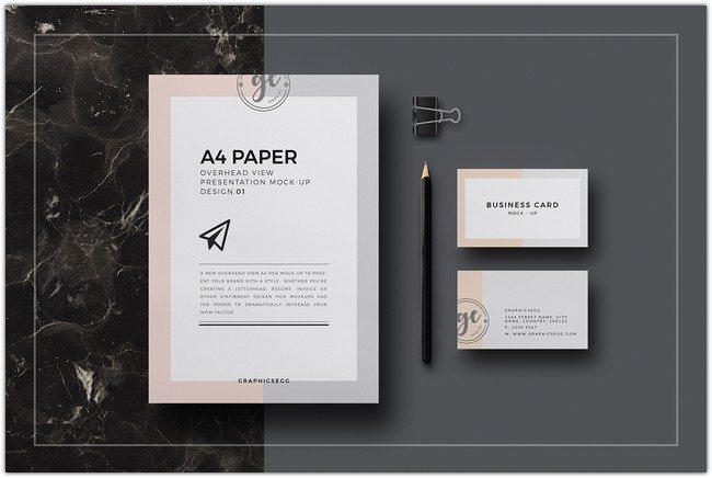 A4 Paper Overhead View PSD Mockup