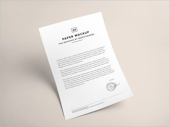 A4 Paper PSD MockUp Free Templates Download