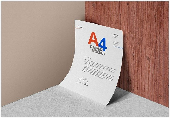 A4 Paper PSD Mockup Templates Download