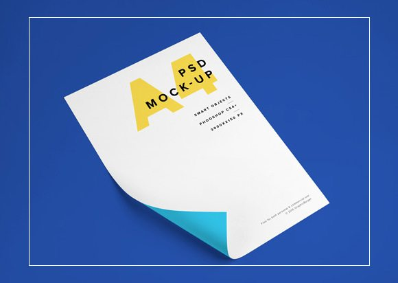 Beautiful A4 Paper PSD MockUp Template