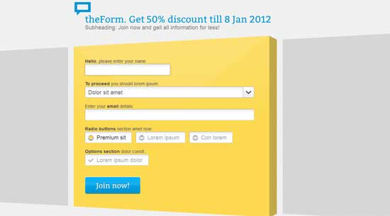 CSS Form HTML Sign up