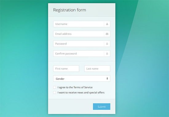 CSS Signup Sky Color Forms