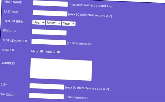 CSS Signup Student Registration Form