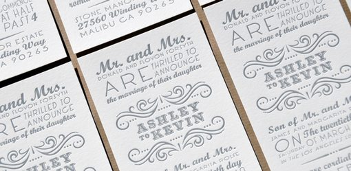 Calligraphic Wedding Invitations Cards