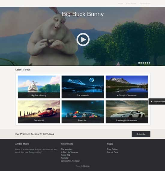 Focus Video WordPress Theme