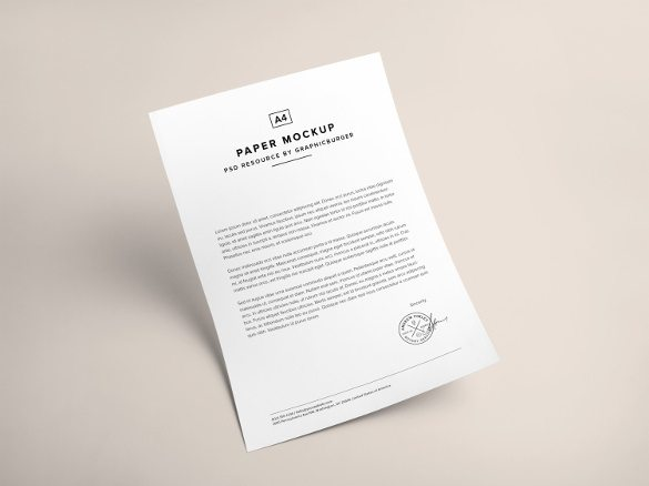 Free A4 Paper PSD Mockup Templates