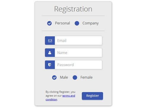 Free Css3 html5 Registration Form