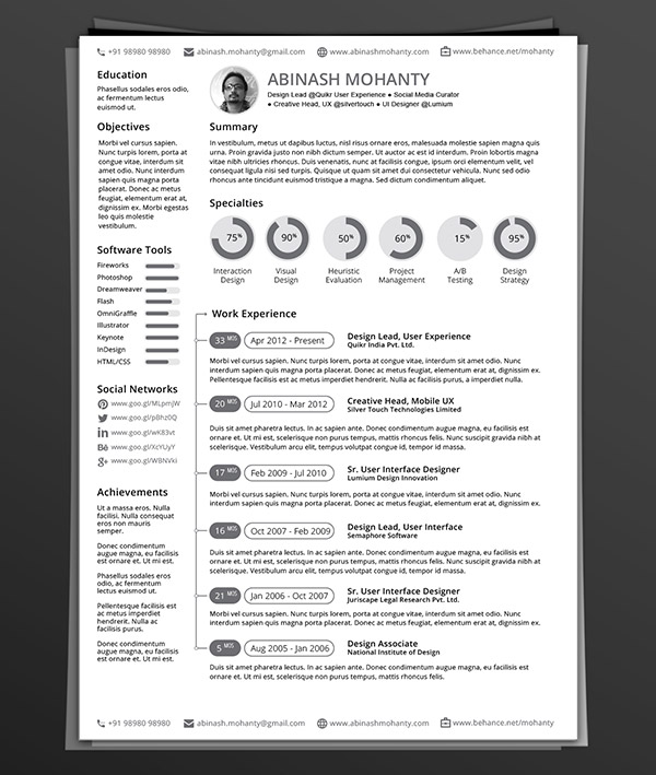 Free Minimal Indesign Resume Templates