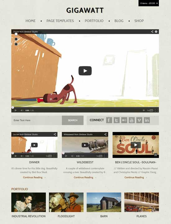 Gigawatt Video WordPress Theme