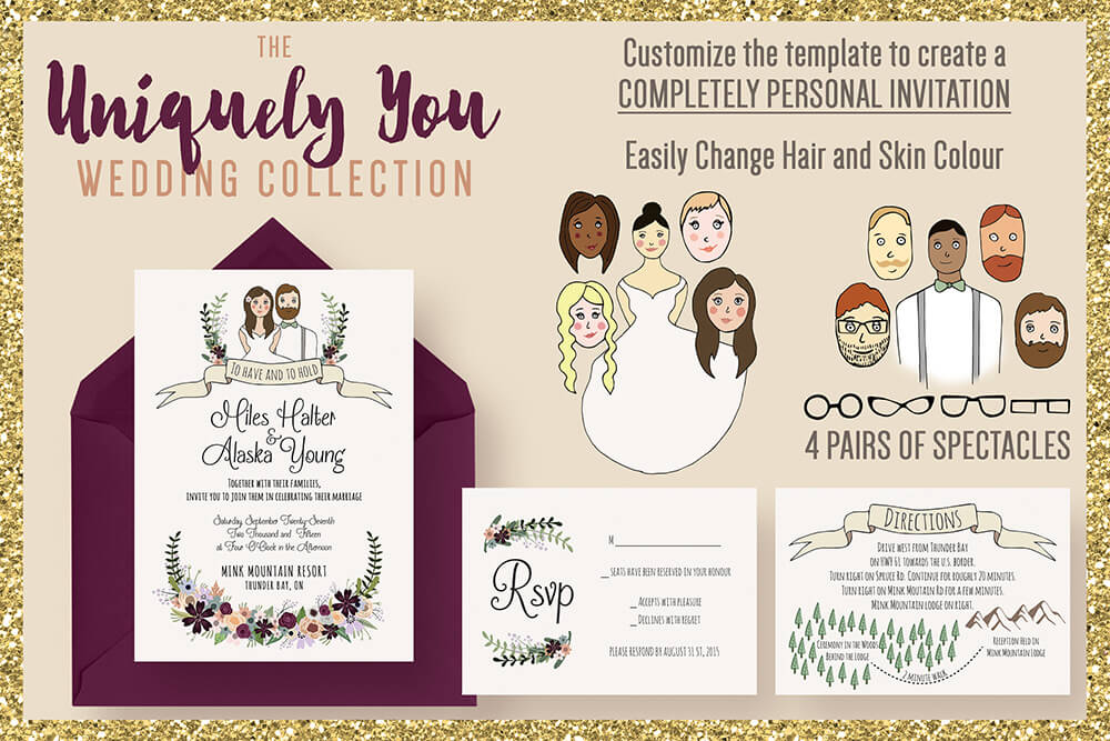 Illustrated Wedding Invitations Examples Ideas
