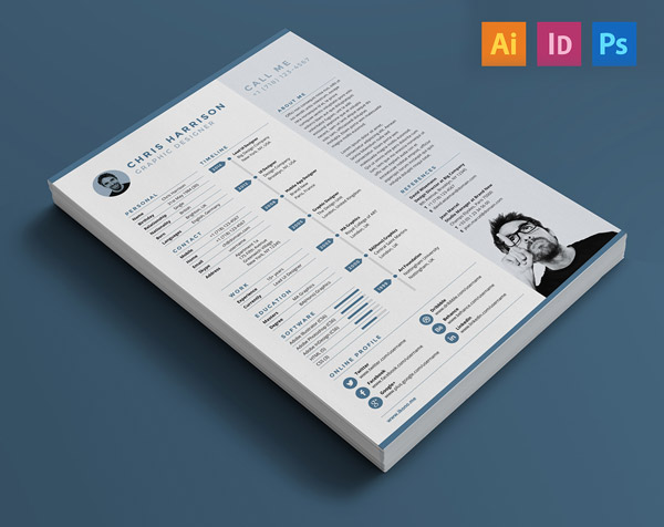 Indesign Resume Illustrator PSD Template