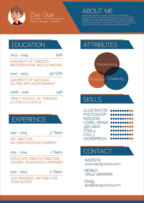 Indesign Resume Templates for Graphic Designers