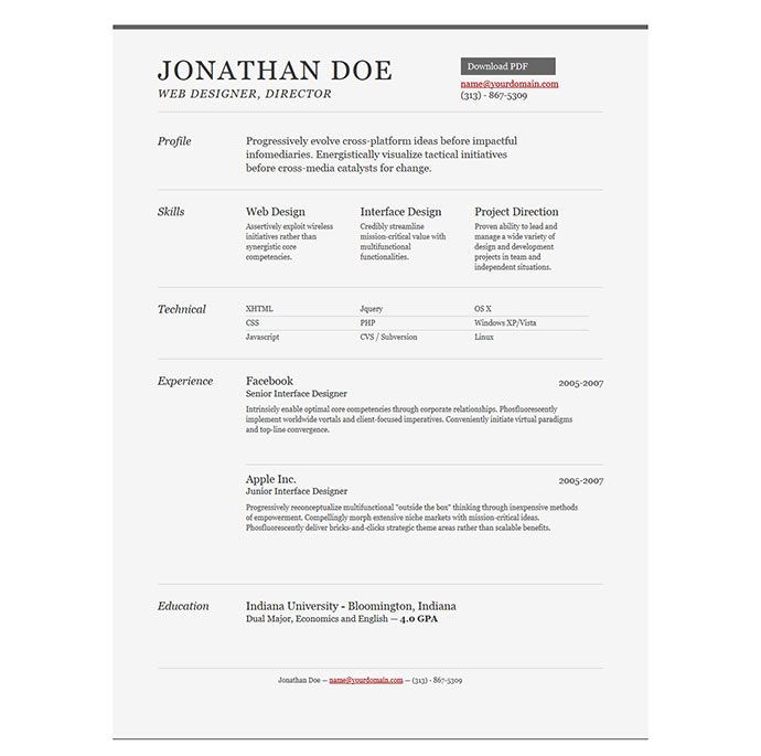 Jonathan Doe resume Templates